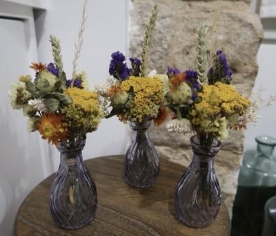 Trio de mini bouquets Palerme avec leurs vases