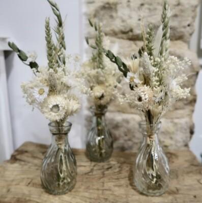 Trio de mini bouquets Syracuse avec leurs vases (EPUISE)