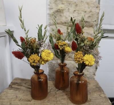 Trio de mini bouquets Vérone avec leurs vases