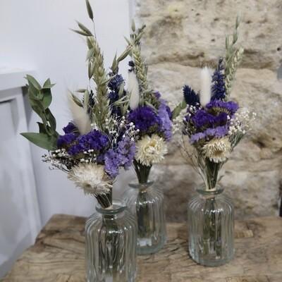 Trio de mini bouquets Murano avec leurs vases