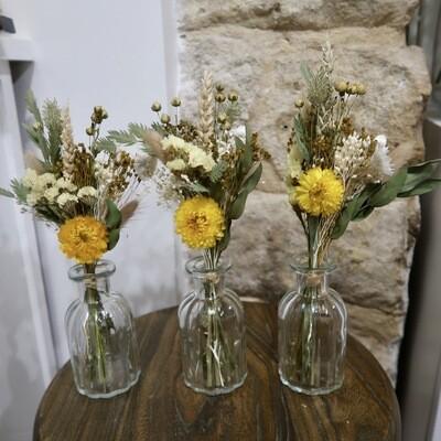 Trio de mini bouquets Capri avec leurs vases