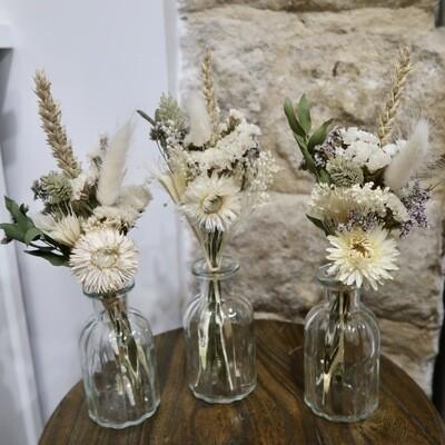 Trio de mini bouquets Syracuse avec leurs vases