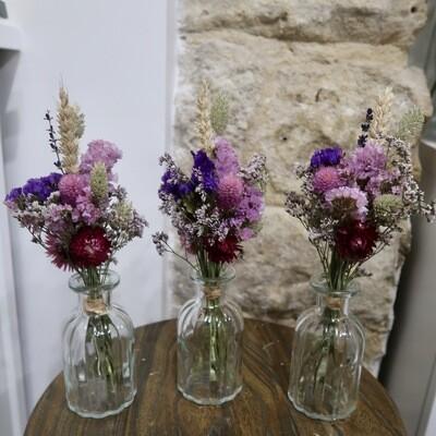 Trio de mini bouquets Rome avec leurs vases