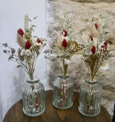 Trio de mini bouquets Florence avec leurs vases