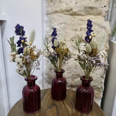 Trio de mini bouquets Toscane avec leurs vases