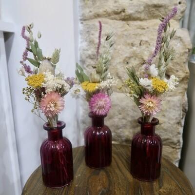 Trio de mini bouquets Sienne avec leurs vases