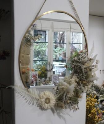 Miroir fleuri en laiton Syracuse (VENDU)