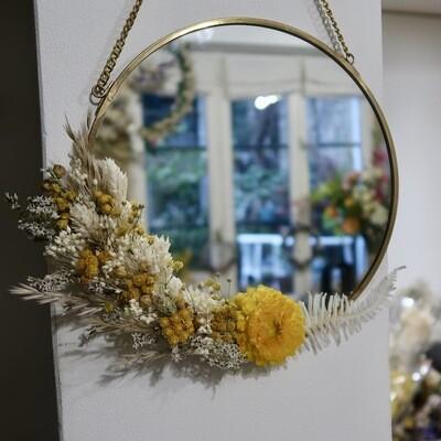 Petit miroir fleuri en laiton Capri rond (VENDU)