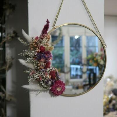 Petit miroir fleuri en laiton Rome rond (VENDU)