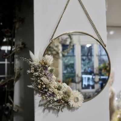 Petit miroir fleuri en laiton Parme rond