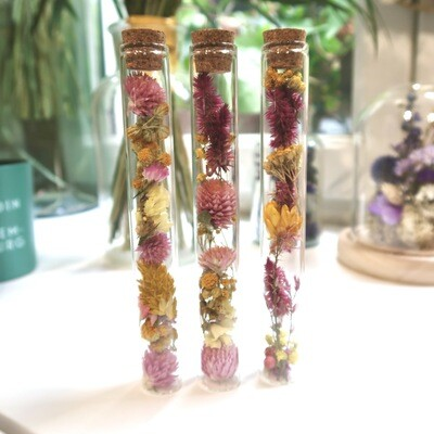 Trio de fioles en fleurs séchées rose et jaune