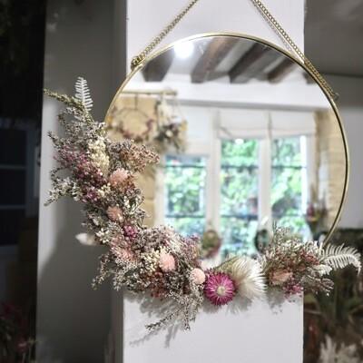 Miroir XL fleuri en laiton Rome
