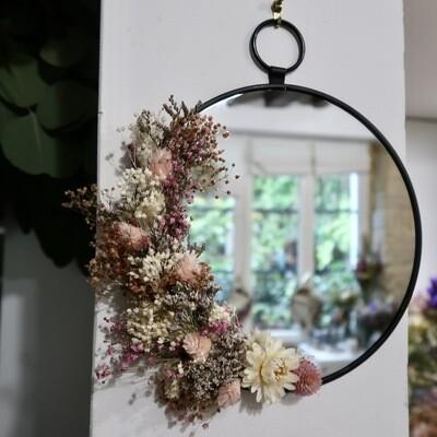 Petit miroir fleuri en laiton noir Rome rond