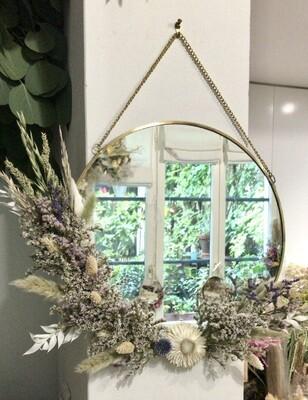 Miroir XL fleuri en laiton Parme
