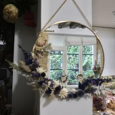 Miroir XL fleuri en laiton Murano