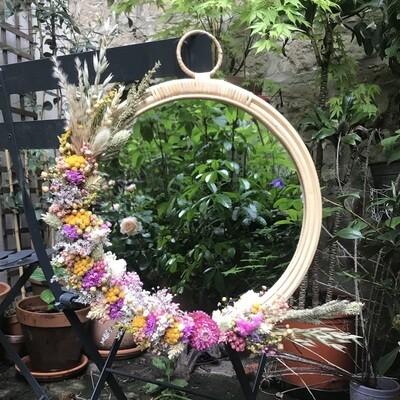 Miroir XL fleuri en rotin Bari