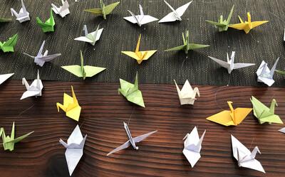 Multi-colored Hand-folded Origami Cranes