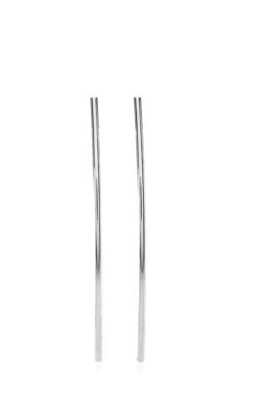 Serendipity Rhodium Curved Bar Earrings