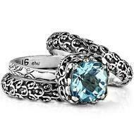 Golden Flower Trio Ring - Blue Topaz