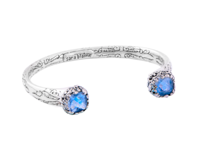 Golden Flower Cuff Bracelet - Blue Quartz