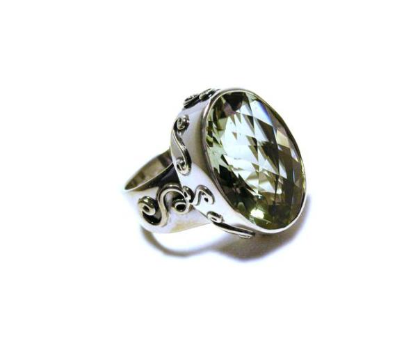 Oval Green Amethyst Ring