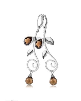 Eden Smoky Quartz Leaf Earrings