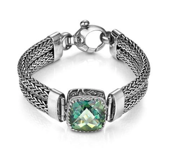 Crown Jewels Weave Bracelet - Green Quartz