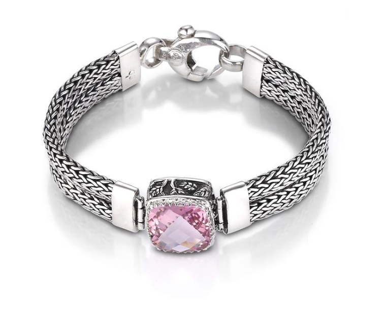 Crown Jewels Weave Bracelet - Pink Topaz