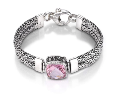 Crown Jewels Weave Bracelet - Pink Topaz