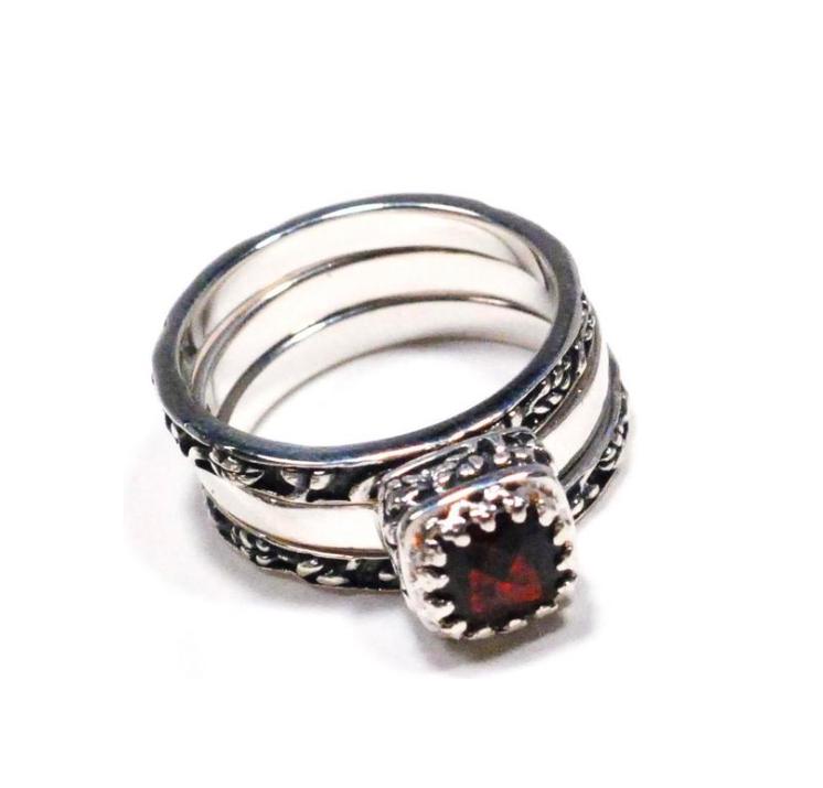 Crown Jewels Garnet Stacking Ring