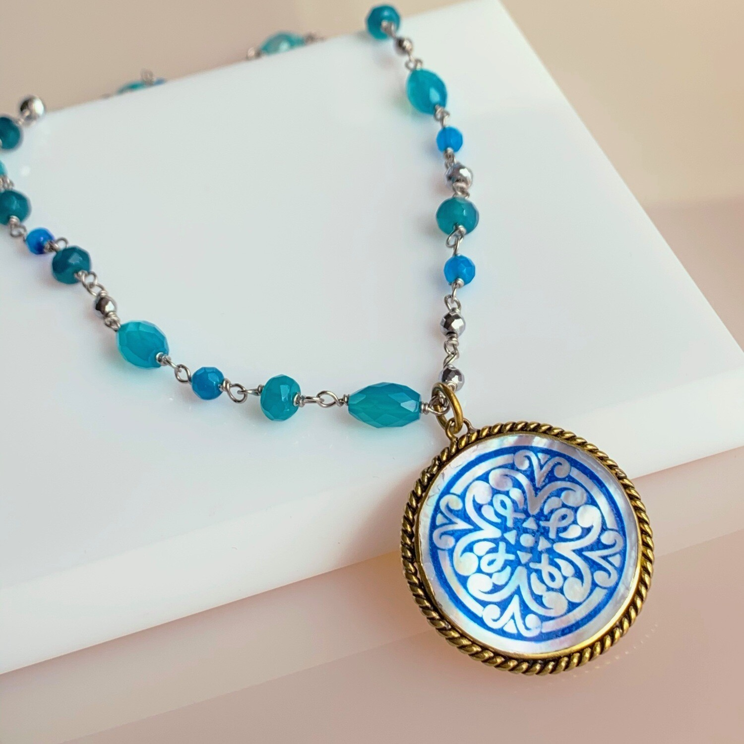 Sundial Beaded Necklace with Pendant