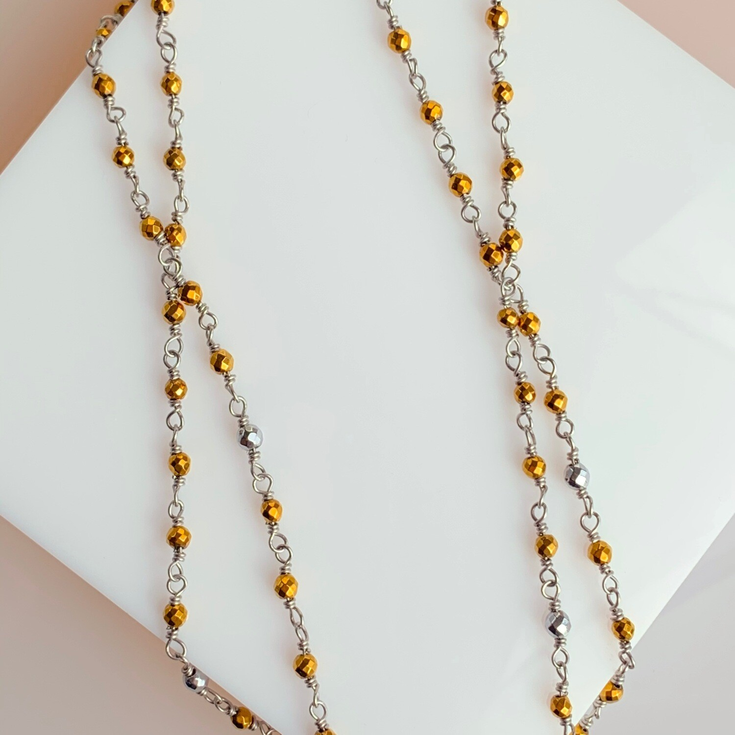 Shining Star Pyrite and Hematite Necklace