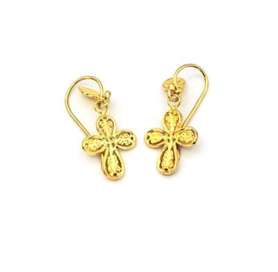 Gold Byzantine Cross Earrings