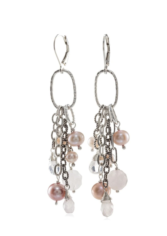 Pearl & Rose Quartz Dangle Earrings