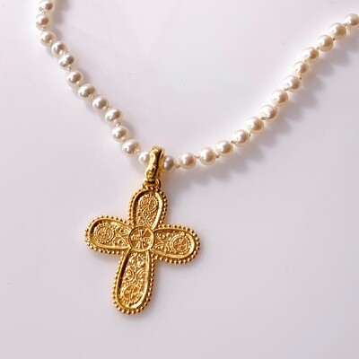 Byzantine Pearl Cross Necklace