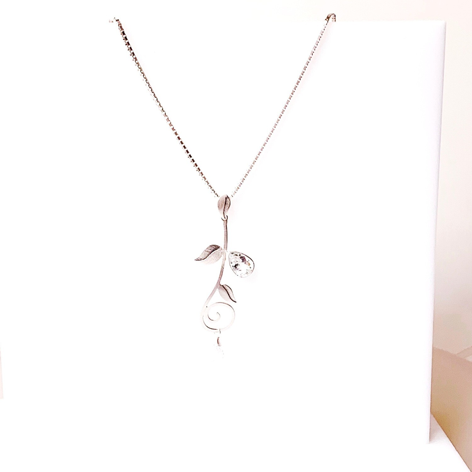 White Topaz Leaf Necklace