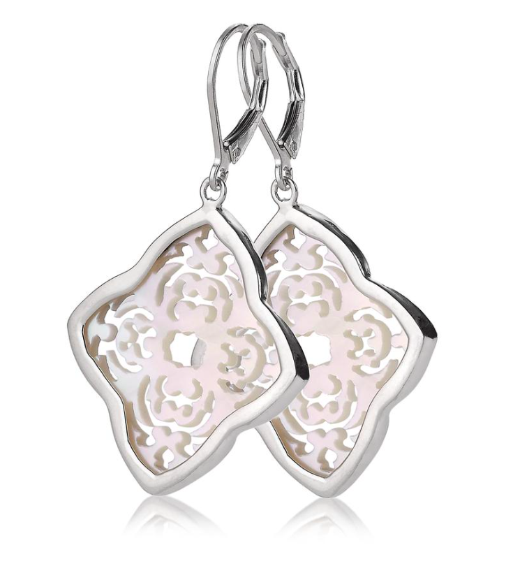 Mother of Pearl Carved Earrings