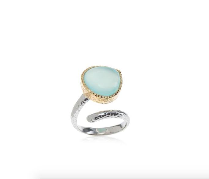 Sterling Silver w/18k Vermeil Aqua Chalcedony Ring