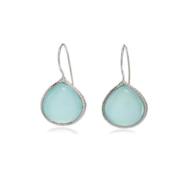 Sterling Silver Aqua Chalcedony Earrings