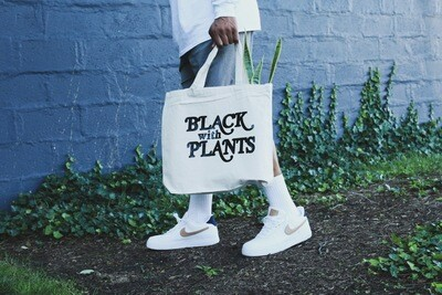 Black With Plants Canvas Tote
