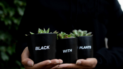 Black With Plants Plant Set — 2""
