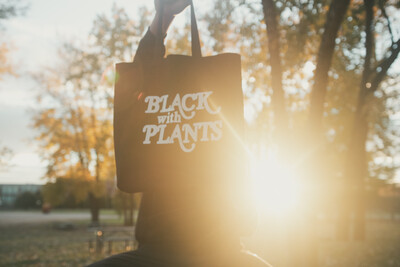 Black With Plants Canvas Tote — Black