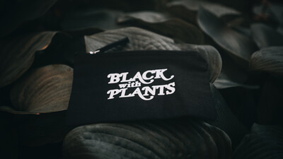 Black With Plants Canvas Zip Bags — Black