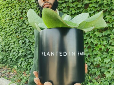 Ceramic Planted in Faith (Various Sizes) — Black