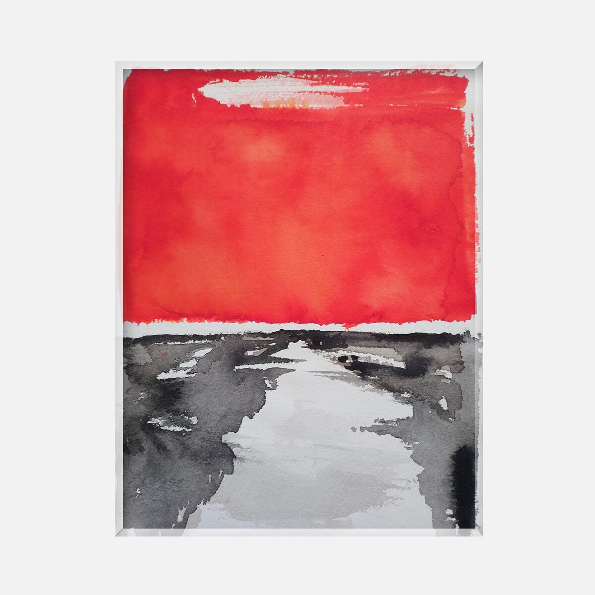 Paysage abstrait rouge