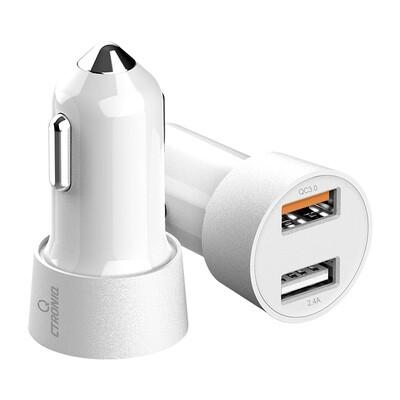 CTRONIQ Vimba CC12 Car Charger,Quick Charge QC3.0, Dual USB Port, LED Indicator - White
