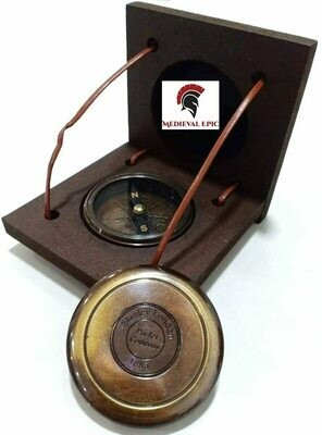 Stanley London Antique Brass Compass Vintage Handmade Pocket Compass W/Box