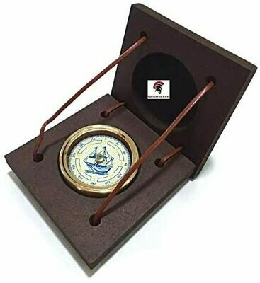 Brass Compass Vintage Gift Swing Dial Maritime Nautical Paperweight Compass W/Box