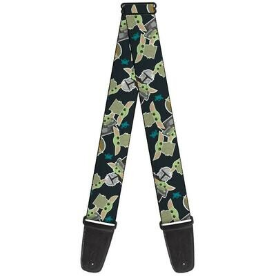 Buckle-Down The Mandalorian Child and Frog Icons Guitar Strap
