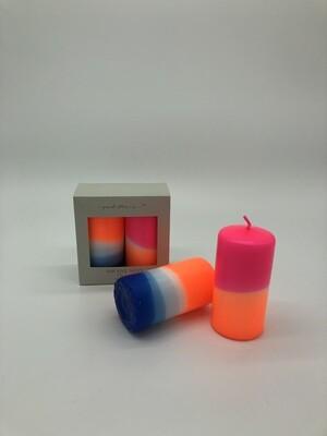 Neon orange/blau Stumpenkerzen